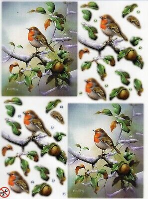 "A4 DIE CUT 3D PAPER TOLE DECOUPAGE /""ROBIN ON FLOWERPOT/"" SHEET NO CUTTING DCD559"