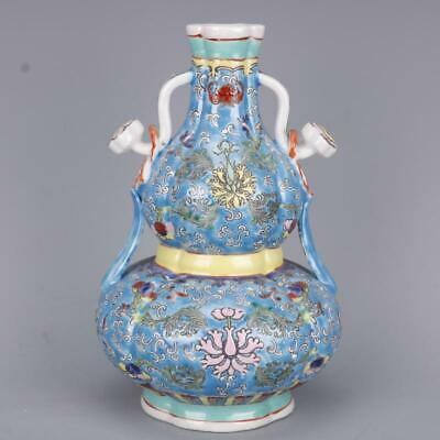 """9.4"""" Collect Chinese Qing Dynasty Porcelain Famille Rose Ruyi bottle gourd Vase"""