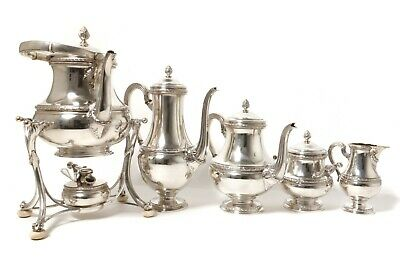 Silver tea&coffee set with a bouillotte, 5 items. Germany, Koch & Bergfeld