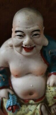 Stunning Antique Chinese Famille Rose Porcelain Laughing Buddha 100mm high