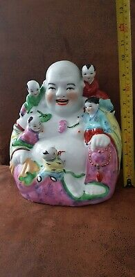 Antique  Chinese Famille Rose Porcelain Laughing Buddha 250mm high
