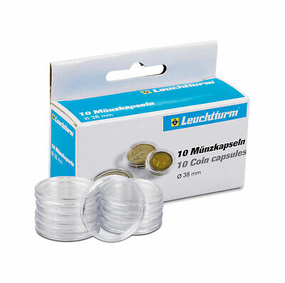 Leuchtturm Coin Display Capsules Sizes 19.5mm to 38mm Packs of 10