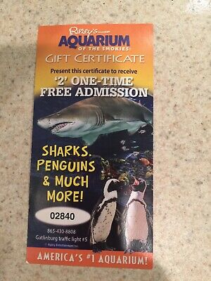 Ripley's Aquarium Of The Smokies tickets Certificate For 2 Admission Gatlinburg