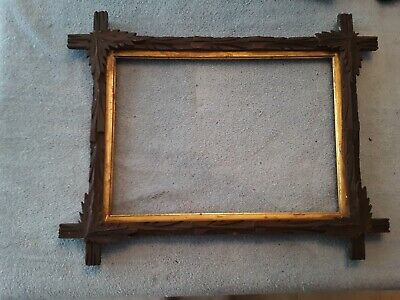 Large Carved Wood Adirondack-Black Forest-Style Picture Frame Antique-