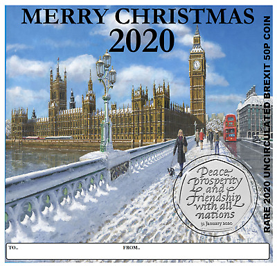 Brexit 50P Uncirculated Spread The Joy At Christmas With This 2020 Greeting Card