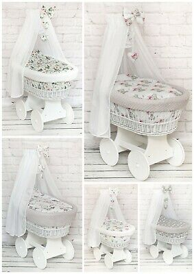 Baby Full Dimple Bedding Set With Canopy To Fit Moses Basket Wicker Crib