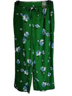 Ladies SIZE 16 green floral lightweight wide leg summer trousers BRAND NEW J565#