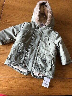 P) George Boys Khaki Green Winter Jacket Coat Faux Fur Lined Size 6-9months BNWT
