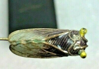 Old or Antique Chinese CICADA Silver Stick Pin Stickpin winged insect enameled