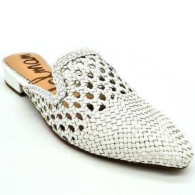 Sam Edelman Womens Clara Woven Leather Mules Sz 6.5 White New