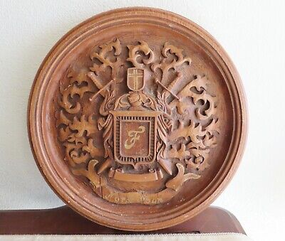 "Large Vintage Norsk Man Round Carved Wood Plaque Crest Norway ""F"" Family Crest"