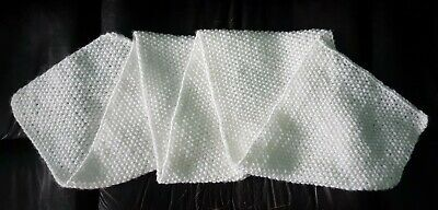 Handmade scarf unisex white long acrylic warm soft seed stich 75 × 10 in New