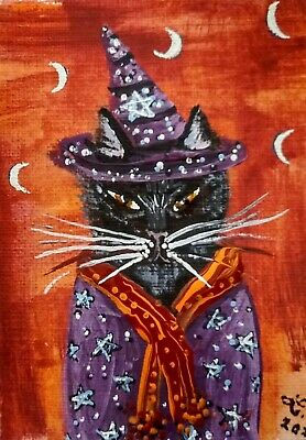 ACEO ORIGINAL Mini Art Painting Halloween Cat Dressed Witch Hat Wizard Costume
