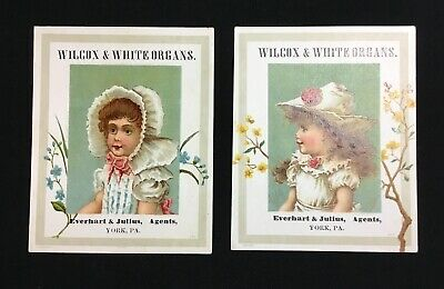 2 Antique Victorian Wilcox & White Organs Trade Cards, York PA, Bufford 1800's
