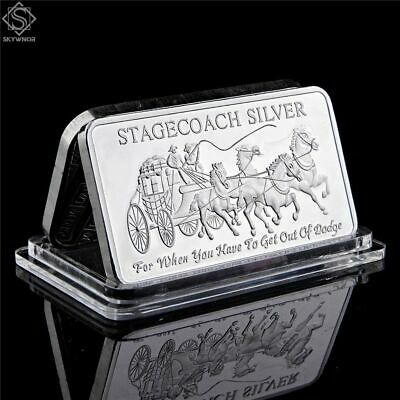 1 OZ SILVER Plated Divisible Metal Bar Stagecoach Northwest Region