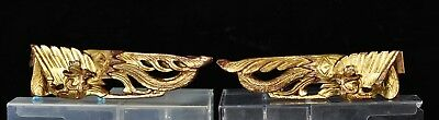 Pair of Antique Chinese Red & Gilt Wooden Carving of Phoenix