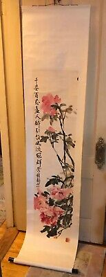 Vintage Hand Painted Floral Water Color Hanging Scroll