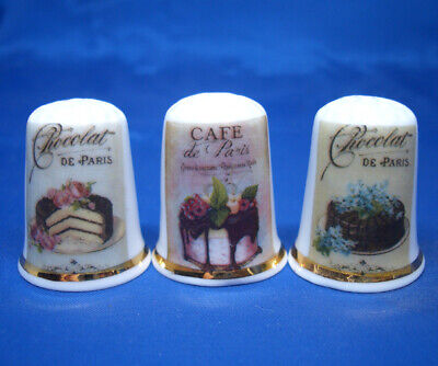Coffee Posters Porcelain China Thimbles Set of Three