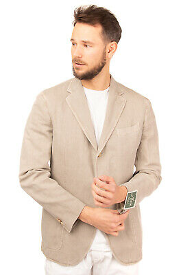 RRP €325 ALAIN Blazer Jacket Size 54 Linen Blend Partly Lined Made in Italy