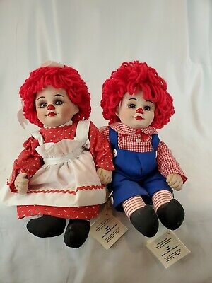 """Marie Osmond Twins """"Rags and Rosie"""" Porcelain 11 in Dolls"""