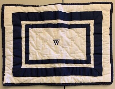 "NEW Pottery Barn Kids Organic Harper Crib Toddler Sham NAVY ""W"""