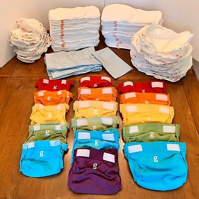 GDiapers Cloth Diaper Set (Sm, Med, Lg) - Covers, Liners, Inserts & Laundry Bags