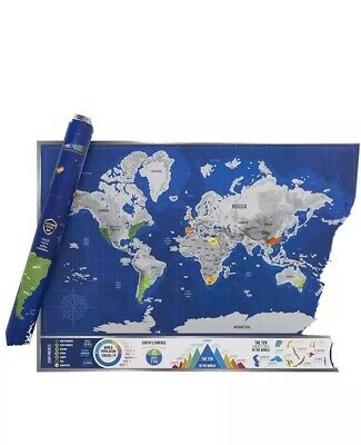 Scratch & Discover Platinum Map - A1 Luxury Scratch Off World Map with Easy to