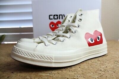 Converse x Comme des Garcons White Chuck Taylor Highs Sneakers Size 8 CDG Play