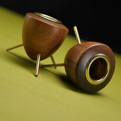 2 Modern Mid Century Style Candle Holders - Bullet Tripod Wood Brass - Danish