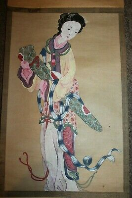 """Antique Japanese Scroll Beautiful Hand Painted Woman 40"""" x 12 1/2""""  Lot C"""