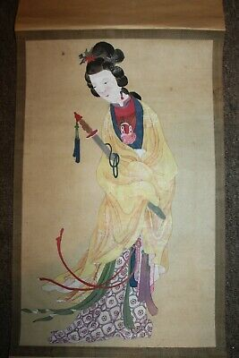 """Antique Japanese Scroll Beautiful Hand Painted Woman 40"""" x 12 1/2""""  Lot D"""
