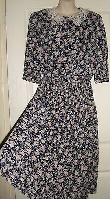 Vintage 1980's, Navy Blue Floral Dress with Lace Collar, by Dolina - Size 14