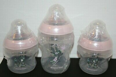 SEALED Tommee Tippee Closer To Nature Decorated Pink Baby Bottle 2 5oz, 1 9oz