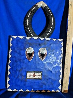 Vibrant Blue Baule Goli Ceremonial Mask — Authentic Carved Wood African Art