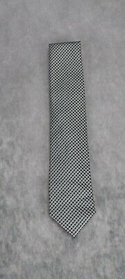 Kenneth Cole Reaction Mens Two Tone Micro Check Silk Necktie Gray One Size