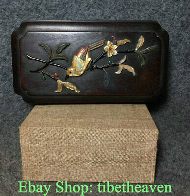 """6.6"""" Old Chinese Rosewood inlay Shell Dynasty Palace Flower Bird Jewelry Box"""