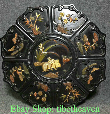 """10.4"""" Old Chinese Rosewood inlay Shell Dynasty Palace Rabbit Flower Jewelry Box"""