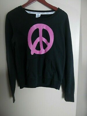 PINK Victoria's Secret Women's Graphic Sweatshirt Size L Peace Sign Black Purple