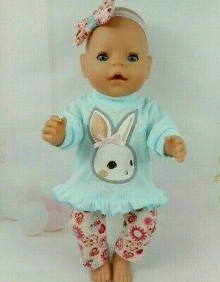 """Dolls clothes for 17"""" Baby Born~16"""" CPK doll ~ BUNNY RABBIT BLUE TOP~LEGGINGS"""