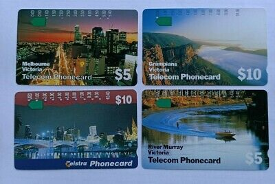 "AU Telecom Phonecard  ""MELBOURNE Victoria "" (4 cards) Used Collectors"