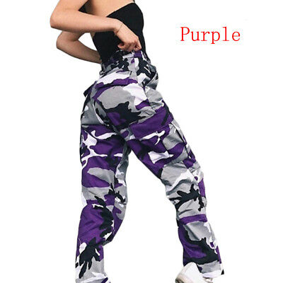 Women Camo Cargo Trousers Hip-hop Military Army Combat Camouflage Pants Purple