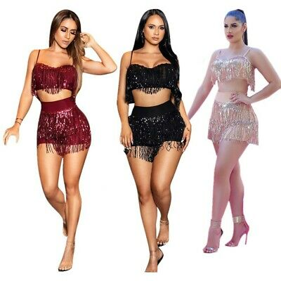 Women Spaghetti Strap Sequins Tassels Club Party Cocktail Short Pants Set 2pc