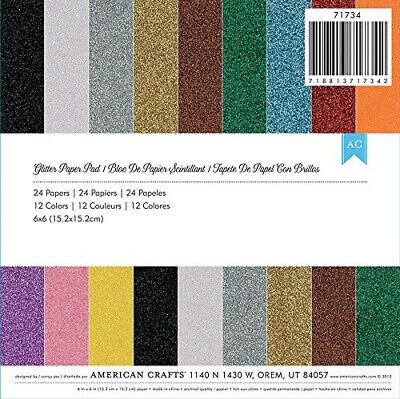 American Crafts 15cm x 15cm Glitter Paper Pad 24 Sheets. Free Shipping