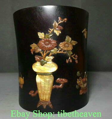 """6.4"""" Old Chinese Rosewood Shell Dynasty Palace Flower Brush Pot Pencil Vase"""