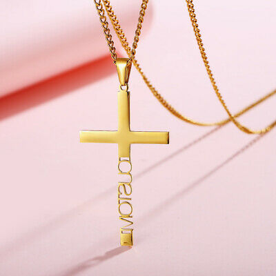 Personalized DIY ID Name Women Girl Necklace Cross Pendant BFF Mother's Day Gift