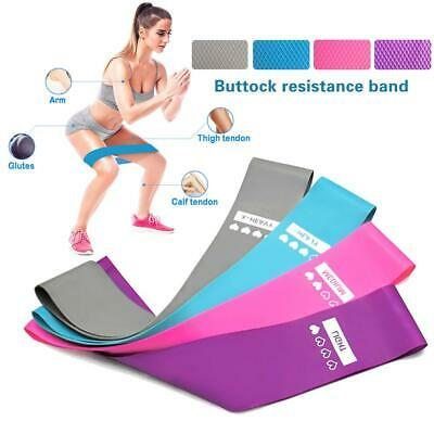 4x Elastic Resistance Loop Bands Exercise Glutes Yoga Pilates Home Gym Workout