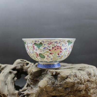 Collect Chinese Qing Dynasty Porcelain Famille Rose Lotus Leaf Lotus Flower Bowl