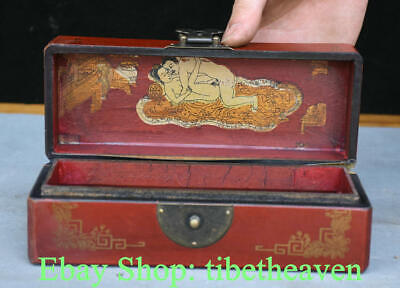 "8"" Old Chinese Red lacquerware Wood Bird Flower pornography Jewelry Box"