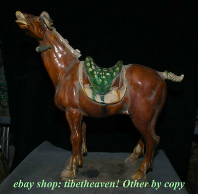 "20.8"" Old Chinese Tang Sancai Pottery Palace Tang Horse Steed Success Sculpture"