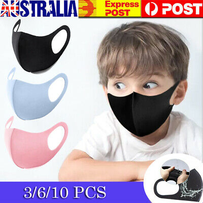 3/6/10x Washable Earloop Face Covers Kids Mouth Covers Reusable Anti-Dust Flu AU